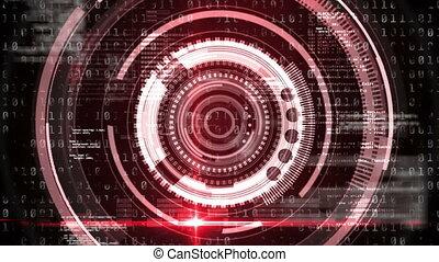 codage, rotation, binaire, portée, données, sur, animation, traitement