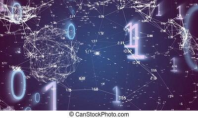codage, traitement, binaire, connexions, données, animation, réseau