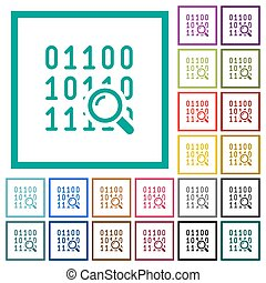 Code analysis flat color icons with quadrant frames on white...