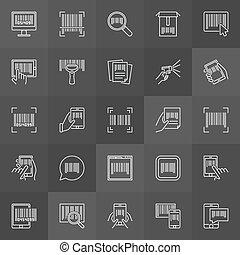 code, bar, lineair, streepjescode, icons., vector, verzameling, tekens & borden
