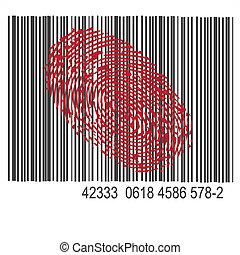 code, bar, thumbprint