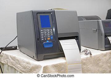 code, barre, imprimante