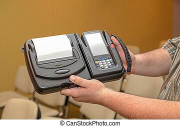 code, barre, portable, imprimante