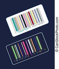 code barres, autocollants, coloré