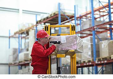 code barres, ouvrier, lecteur