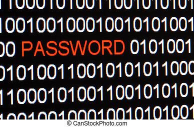 code binaire, écran, isolé, informatique, rouges, password.