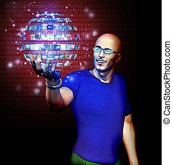 code binaire, beaucoup, image, sphère, regarde, homme