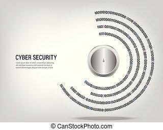 code binaire, cadenas, arrière-plan., fermé, numérique, cercle