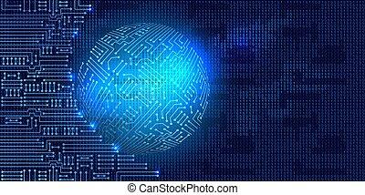 code, binaire, circuit, électronique, sphère