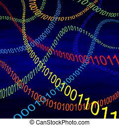 code binaire, cyberespace, voler, multicolore, par, vapeurs