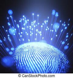 code binaire, empreinte doigt