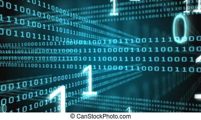 code binaire, généré digitalement, vidéo