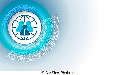 code binaire, gens, résumé, vecteur, fond, globe, circulaire