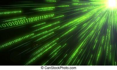 code binaire, illustration, cpu., informatique, en mouvement, conceptuel, chaînes, 3d