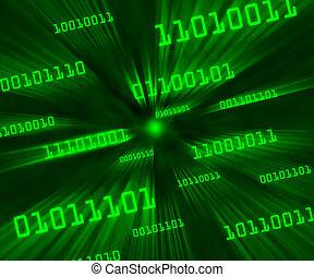 code binaire, incliné, voler, octets, vortex, vert, par