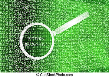 code binaire, modèle, verre, désordre, analyser, magnifier, reconnaissance
