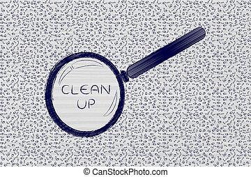 code binaire, nettoyer, verre, désordre, analyser, magnifier