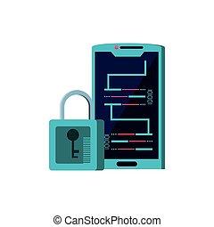 code, binaire, smartphone, appareil, cadenas