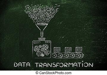 code binaire, traitement, usine, transformation, données