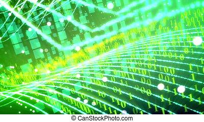 code binaire, transfer., résumé, vert, données