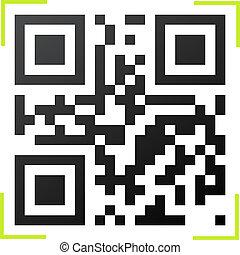 code, cadre, qr, vert, lecteur, noir, blanc