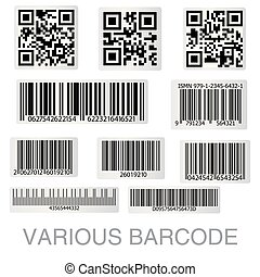 code, collection., sticker, streepjescode, illustratie, qr, vector
