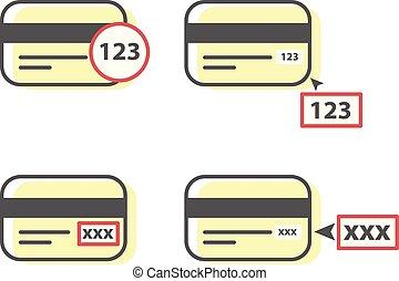 code, comment, cvv, -, échantillon, crédit, entrer, carte, icône