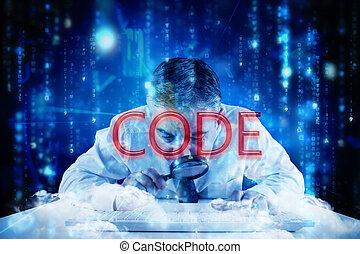 code, contre, lignes, de, bleu, brouillé, lettres, tomber