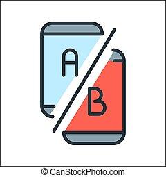code couleur, ab, essai, icône