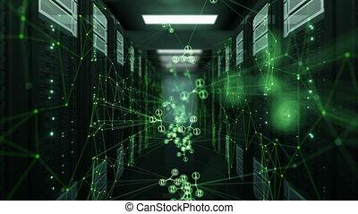 code, couleur, résumé, fait boucle, technologie, 3840x2160., réseau, média, concept., animation, numérique, 3d, center., données, hd, salle, dof, serveur, blur., vert, 4k, ultra, futuriste