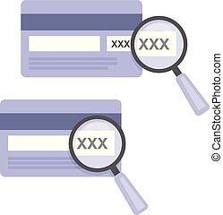 code, cvv, -, échantillon, crédit, nombres, verre, entrer, magnifier, carte, icône