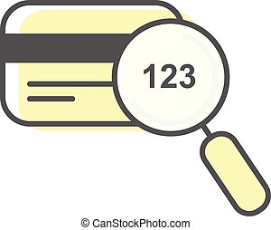 code, cvv, -, magnifier, échantillon, crédit, concept, verre, ligne, paiement, carte, icône