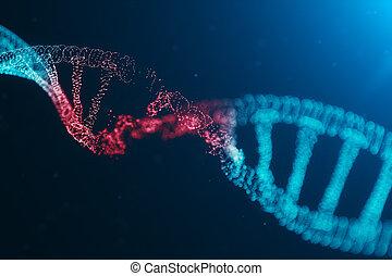 code, dû, concept, humain, adn, abîmer, détruit, hélix, 3d, consister, mutation, illustration, virus, experiment., destruction, structure., dots., molécule, molecule., particule, genome., gène, ou
