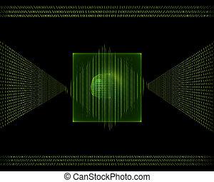 code, données, binaire, couler