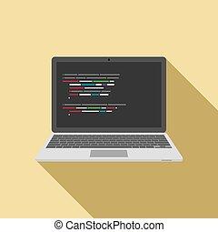 code, draagbare computer, screen., vector, redacteur, pictogram