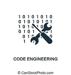 Code Engineering icon. Monochrome style design from big data icon collection. UI. Pixel perfect simple pictogram code engineering icon. Web design, apps, software, print usage.