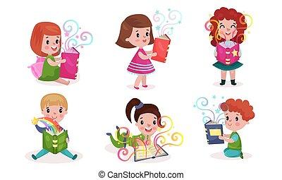 code, fata, vario, vettore, lettura, bambini, illustrazioni, posizioni, set, libri