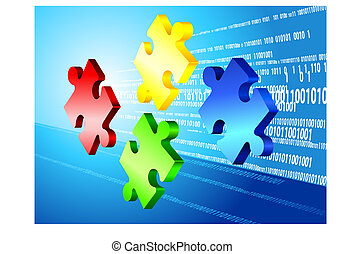 code, fond, binaire, puzzle, incomplet