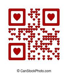 code, herz, qr, liebe, illustration., abstrakt, vektor, wörter, sie, symbol, rotes