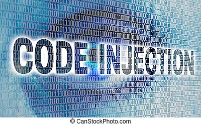 Code injection eye with matrix looks at viewer concept