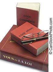 code, légal, commercer, livres, francais, penal