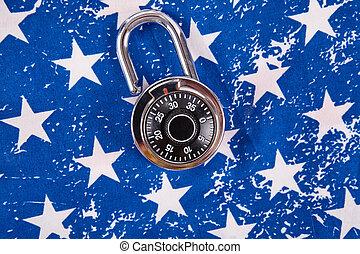 Code lock and american flag. Memorial day