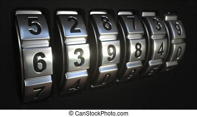 Code lock rings stop rotation at word ACCESS - Mechanichal...