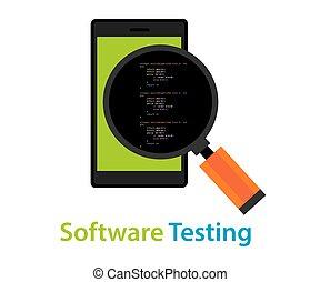 code, mobile, essai, application, inspection, logiciel