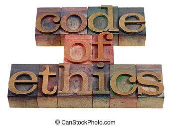 code of ethics words or headline - vintage wooden letterpress printing blocks stained by color inks