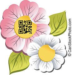 code, printemps, qr, étiquette, fleur, temps
