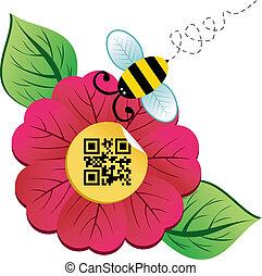code, printemps, qr, fleur, temps, abeille