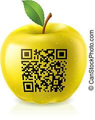 code, qr, pomme, jaune
