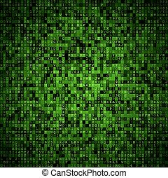 Random symbols blocks encoded data screen. Green vector background