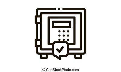 code safe Icon Animation. black code safe animated icon on white background
